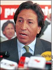 With his popularity near rock bottom, President Alejandro Toledo of Peru is embroiled in a corruption scandal so debilitating that a recent opinion poll indicated that half of Peruvians thought he would not finish out the remaining two years of his five-year term