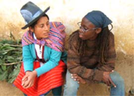 African-American Peace Corps volunteer Angela Jones has � to her surprise � blended into Peru