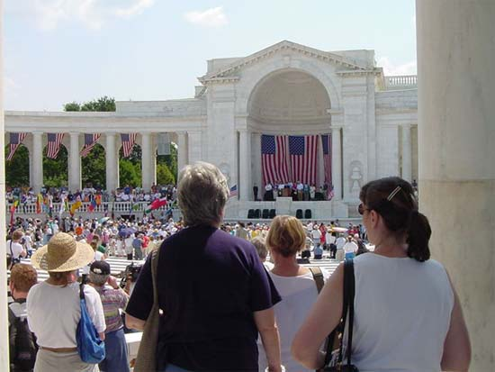 "Members of the Maryland Returned Volunteers participated in the ""Peace March"" at the 2002 National Peace Corps Convention in Washington DC,  and listened to speakers remember the Peace Corps Fallen at the Ampitheatre at Arlington Cemetery."