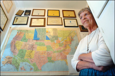 At the age of 71, Dr. Bernadine Hoff joined the Peace Corps and went to Morocco, where she was assigned to teach business English at the Ecole Nationale de Commerce et de Gestion, in Agadir