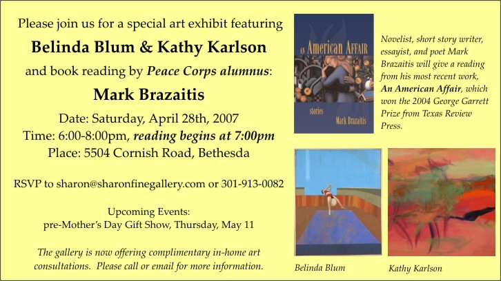 Guatemala RPCV Mark Brazaitis  will be reading at an exhibition of painting by Togo RPCV Kathy Karlson