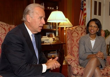 Sen. Joseph Biden asked Secretary of State Condoleezza Rice in a letter whether politcal briefings inappropriately politicized diplomatic agencies