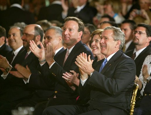 President Bush was introduced to the packed East Room crowd as a friend of Latinos by Peace Corps Director Gaddi Vasquez, who said Latinos will continue to play a key role in shaping America's future.