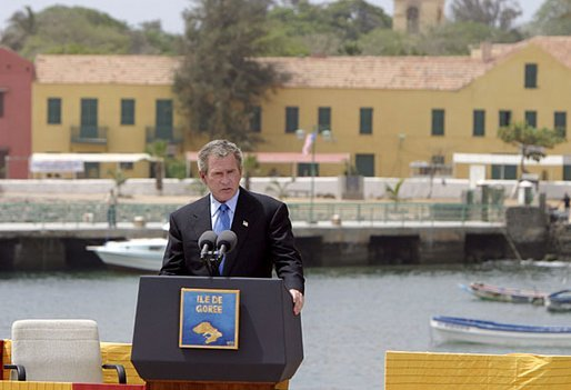 President Bush Speaks at Goree Island in Senegal