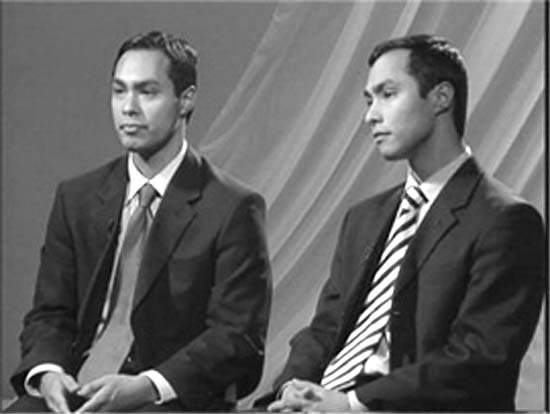 Identical twins Julián and Joaquin Castro are politicians from San Antonio. Julián serves on the San Antonio City Council, and Joaquin is a state representative.