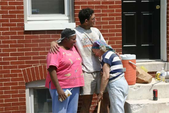 "Sunday Pickens, Chris Seremet, and Lane Berk after one of  the group's many ""Habitat for Humanity"" projects in downtown Baltimore. JoAnna Allen organized our first Habitats and later Chris Seremet took over the organization of these successful service events."