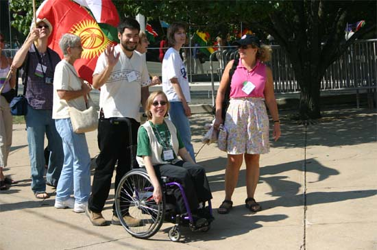 Christa Bucks Camacho and her husband Jose participate in the Peace March as part of the group's delegation representing the Maryland Returned Volunteers at the National Peace Corps convention in 2004 in Chicago.