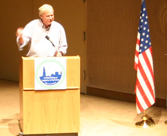  Speaker Chris Matthews spoke about his Peace Corps experience as a &#34;moveable feast&#34;
