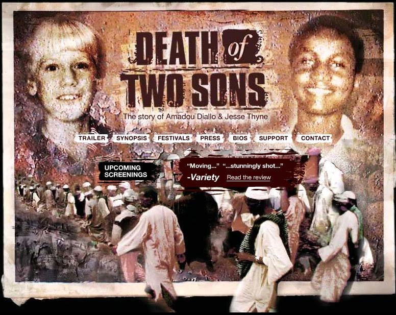 The movie Death of Two Sons, directed by Micah Schaffer and shown as part of the African Diaspora Film Festival, delves into Amadou Diallo's slaying and the car-crash death of Peace Corps volunteer Jesse Thyne
