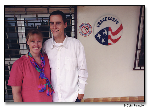 Diane and Alex outside the Peace Corps office in Yaoundé, the capital of Cameroon