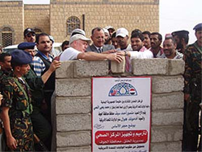 U.S. Ambassador and Tunisia RPCV Edmund Hull lays the foundation stone to the Yemen Civilization Museum in Marib