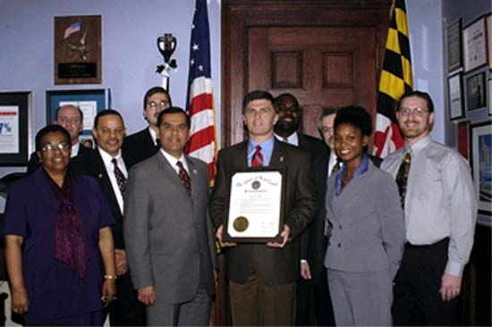 Governor Robert Ehrlich and Peace Corps Director Gaddi Vasquez declare the first week of March 2004 to be Maryland Peace Corps Week