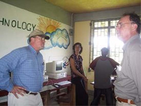 Peace Corps volunteer Erin Rowe initiated an Information Technology (IT) laboratory at the Essequibo Islands Secondary School in Sans Souci, Wakenaam Island