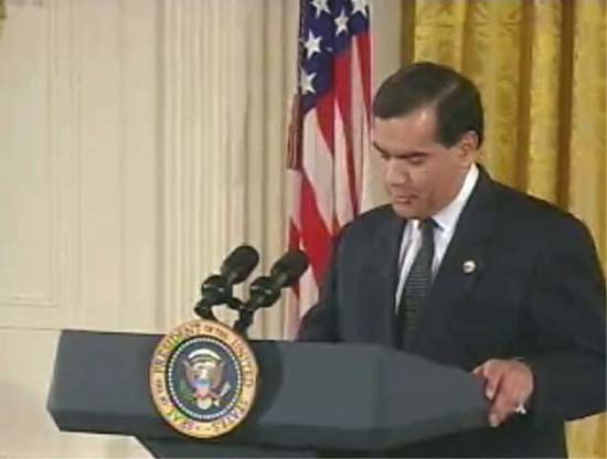 Peace Corps Director Gaddi Vasquez introduces President Bush at White House Cinco de Mayo Event