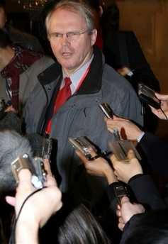 U.S. envoy Christopher Hill briefs reporters in Beijing, China, saying the U.S. is losing patience in the nuclear negotiations with North Korea