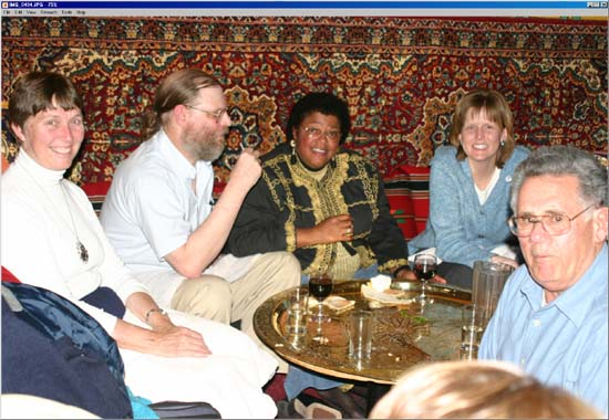 "The group's ethnic dinner at the Moroccan restaurant ""Casablanca"" in Wilmington Delaware in 2003 with Summer Rosswog and Kamal Ibrahim (right)."