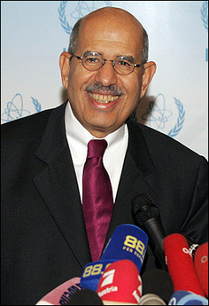 Mohamed ElBaradei and the International Atomic Energy Agency, the nuclear watchdog agency he heads, wins the 2005 Nobel Prize for Peace