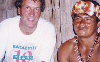 John Perkins and Shaman Chumpi (Kitiar) in Miasal, in the Amazonian rainforest of Ecuador