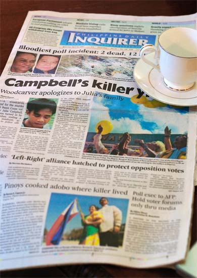Peace Corps Volunteers Aaron writes: Two weeks ago we lost a volunteer. I don�t know how much coverage this has gotten (if any), particularly in the wake of the Virginia Tech shootings. But its been front-page news here in the Philippines.