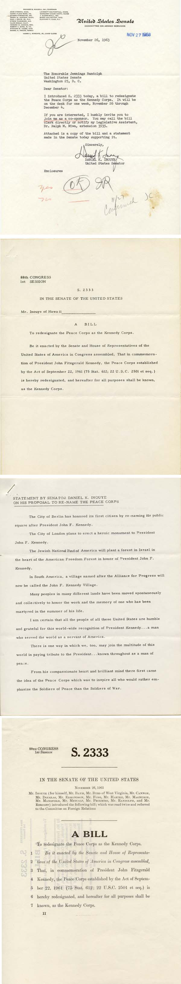 Four days after Kennedy is assassinated, Senator Inouye introduces a bill to rename the Peace Corps the Kennedy corps