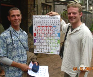 Peace Corps Volunteers Sam Roberts and Frank Lester develop Kenya's first uniform sign language poster, the Easy to Learn Sign Language Poster
