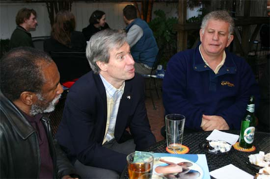 NPCA President Kevin Quigley (center) makes a point at a Happy Hour at the Ram's Head in Annapolis.  Kevin was the speaker at the group's annual picnic in 2003.