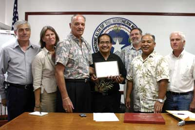 Gov. Benigno R. Fitial recognizes John Pincetich, the first director of Peace Corps Micronesia, and the volunteers who have worked throughout the former Trust Territory