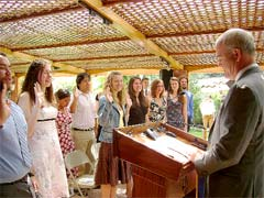 U.S. Ambassador to Costa Rica, Mark Langdale, swears in 16 young Peace Corps volunteers