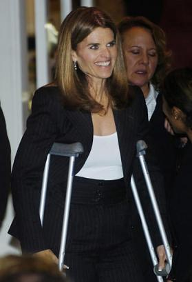 Maria Shriver broke her foot. California's first lady, a faithful Red Sox fan, was hobbling on crutches after injuring herself while watching the fifth playoff game between Boston and the New York Yankees.