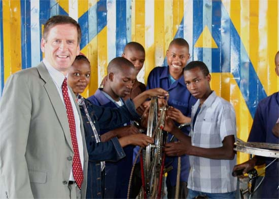 U.S. Ambassador to Tanzania Mark Green Visits Peace Corps Volunteer Providing Life Skills to Students at Tumaini Orphan Vocational Training Center in Arusha