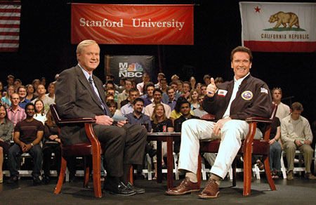 California Gov. Arnold Schwarzenegger joined Chris Matthews, the host of MSNBC�s talk show �Hardball,� for a one-hour live broadcast Monday afternoon from Stanford University�s Memorial Auditorium