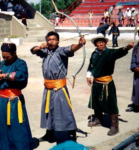 James Burnham learned archery while working in Mongolia with the Peace Corps and participated in Sunday's archery demonstration