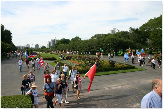 ...and make the turn to approach Buckingham Fountain from the South.