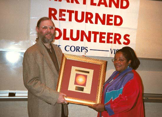 "One of the proudest moments that Sunday and I shared was receiving an award in 2003 from the Maryland Returned Volunteers for publishing ""Peace Corps Online."""