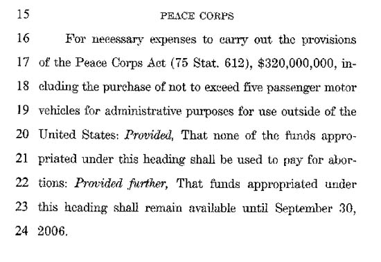 Peace Corps to receive 4% increase in appropriations for FY05