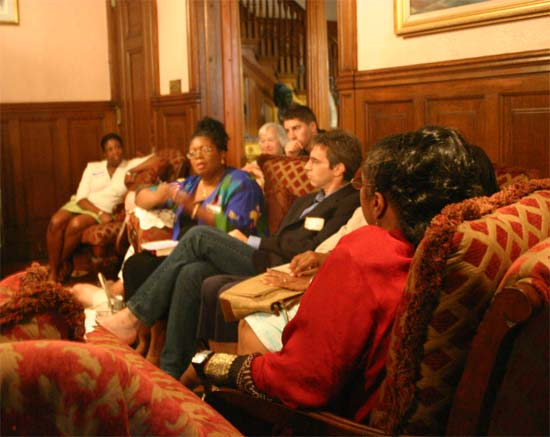 Psychiatrist Marilyn Martin makes a point while (left to right) Charma Rhoden, Joseph Permietti, Lane Berk, Brian Dulay and Philip Weiss listen.