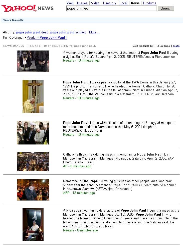 Pope John Paul dies