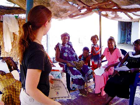 Rebecca Perkins teaches a class in Senegal as a Peace Corps Volunteer