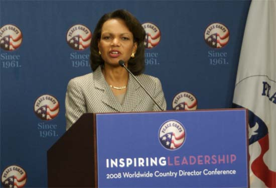 Secretary of State Condoleezza Rice Visits Peace Corps Headquarters