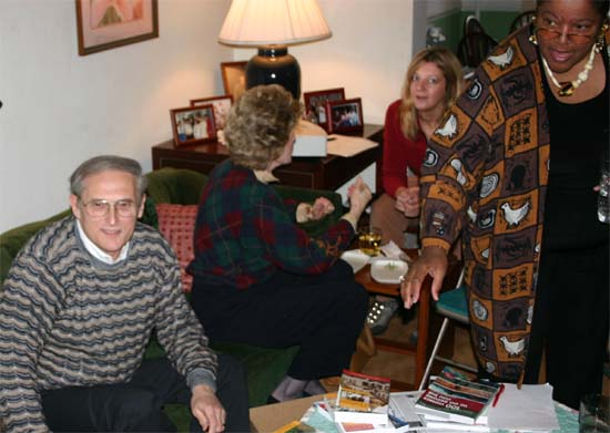 RPCV Author Ron Krannich talks about his books about international jobs, the book publishing business, How to travel for a living, and internet business models at  the group's Book Club Meeting in 2005. JoAnna Allen hosted this meeting at her home.