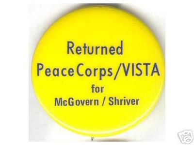 Returned Peace Corps worker pin made to back the McGovern-Shriver ticket in 1972