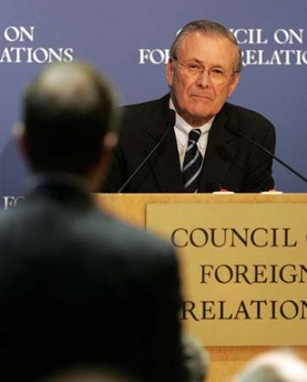 Donald Rumsfeld speaks on New Realities in the Media Age