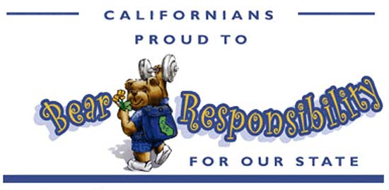 Maria Shriver launches California Service Corps Web Site featuring a logo of a cartoon bear, dumbbell in hand, nicknamed Sarge the Bear - a tribute to Shriver's father