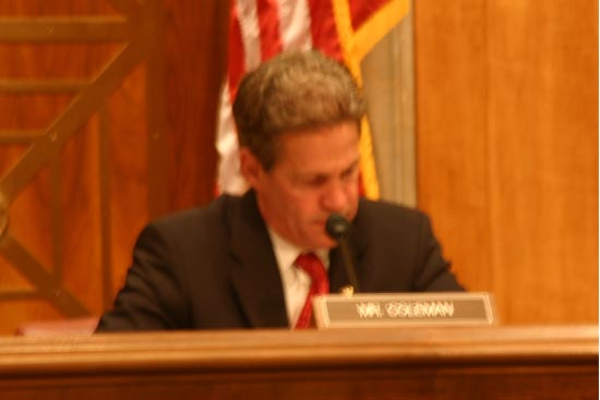 Senator Norm Coleman presided over the hearings
