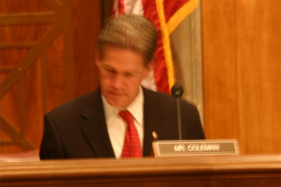 PCOL asks Senator Coleman about volunteers he met working in AIDS Education