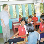 As a member of the Peace Corps, Seth Spiro traveled to Thailand to train teachers in an American, student-centered style of education, and taught students about nutrition, HIV prevention and resisting the urge to drink and drive