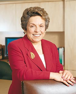 University of Miami President Donna E. Shalala gave a sentimental send-off Monday to 32 new volunteers headed for Haiti
