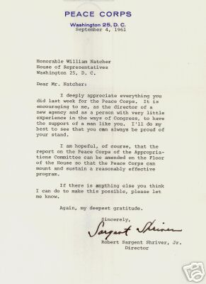 An original signed September 4, 1961 Peace Corps letter signed by Sargent Shriver and addressed to US Congressman William Natcher