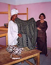 In 1999, Mariam Sidibé teamed up with Peace Corps volunteer Allison Williams (97-2000) to spread the word about her center and learn any new skills that could help her girls as well as her own family. Later that year, Allison sent Mariam to a Peace Corps/USAID sponsored project to teach women how to crochet recycled plastic bags into marketable goods