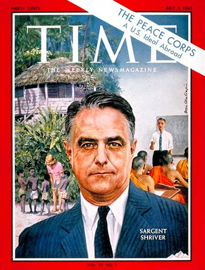 "Time Magazine cover on ""The Peace Corps"" from July 5, 1963. The Peace Corps started in 1961."